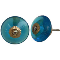 IndianShelf Handmade 14 Piece Glass Blue Wheel Decorative Dresser Knobs/Cabinet Pulls