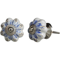 IndianShelf Handmade 14 Piece Ceramic Blue Lotus Decorative Dresser Knobs/Cabinet Pulls
