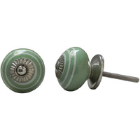 IndianShelf Handmade 14 Piece Ceramic Green Stripe Artistic Designer Drawer Knobs/Cabinet Pulls