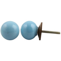 IndianShelf Handmade 14 Piece Ceramic Blue Solid Decorative Dresser Knobs/Cabinet Pulls