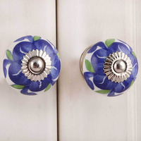 IndianShelf Handmade 16 Piece Ceramic Multicolor Floral Artistic Drawer Knobs/Cabinet Pulls
