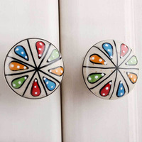 IndianShelf Handmade 16 Piece Ceramic Multicolor Wheel Flat Artistic Drawer Knobs/Cabinet Pulls
