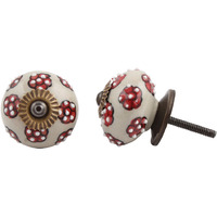 IndianShelf Handmade 16 Piece Ceramic Red Tiny Floral Decorative Room Drawer Knobs/Cabinet Door Pulls
