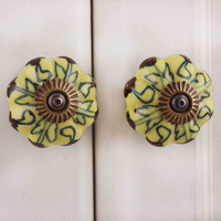 IndianShelf Handmade 16 Piece Ceramic Yellow Melon Artistic Drawer Knobs/Cabinet Pulls