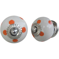 IndianShelf Handmade 16 Piece Ceramic Orange Polka Dot Decorative Room Drawer Knobs/Cabinet Door Pulls