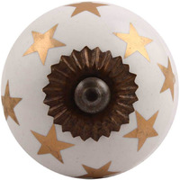 IndianShelf Handmade 18 Piece Ceramic Golden Star Artistic Designer Drawer Knobs/Cabinet Pulls