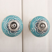 IndianShelf Handmade 18 Piece Ceramic Green Flower Artistic Designer Drawer Knobs/Cabinet Pulls