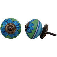 IndianShelf Handmade 18 Piece Ceramic Turquoise Flower Decorative Dresser Knobs/Cabinet Pulls
