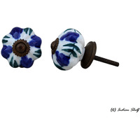 IndianShelf Handmade 18 Piece Ceramic Blue Floral Decorative Dresser Knobs/Cabinet Pulls
