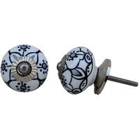 IndianShelf Handmade 18 Piece Ceramic Black Floral Vintage Furniture Knobs/Wardrobe Pulls
