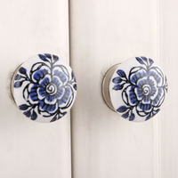 IndianShelf Handmade 18 Piece Ceramic Blue Rose Flat Artistic Designer Drawer Knobs/Cabinet Pulls
