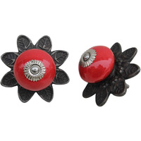 IndianShelf Handmade 18 Piece Ceramic Red Protia Solid Artistic Designer Drawer Knobs/Cabinet Pulls