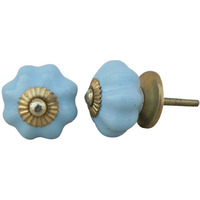 IndianShelf Handmade 18 Piece Ceramic Blue Solid Vintage Furniture Knobs/Wardrobe Pulls