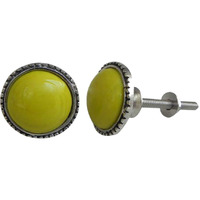 IndianShelf Handmade 18 Piece Glass Yellow Circle Artistic Designer Drawer Knobs/Cabinet Pulls