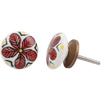 IndianShelf Handmade 18 Piece Ceramic White Wheel Floral Flat Decorative Dresser Knobs/Cabinet Pulls