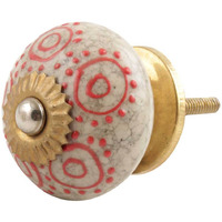 IndianShelf Handmade 20 Piece Ceramic Multicolor Round Crackle Home Decor Dresser Knobs/Wardrobe Cabinet Pulls