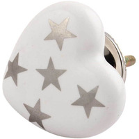 IndianShelf Handmade 20 Piece Ceramic Silver Star Heart Artistic Drawer Knobs/Cabinet Pulls