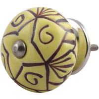 IndianShelf Handmade 20 Piece Ceramic Yellow Etched Artistic Drawer Knobs/Cabinet Pulls