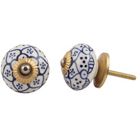 IndianShelf Handmade 20 Piece Ceramic White Poinsettia Flower Artistic Drawer Knobs/Cabinet Pulls