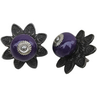 IndianShelf Handmade 20 Piece Ceramic Purple Round Protia Solid Artistic Drawer Knobs/Cabinet Pulls