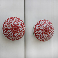 IndianShelf Handmade 20 Piece Ceramic Red Daisy Flat Artistic Drawer Knobs/Cabinet Pulls