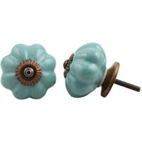 IndianShelf Handmade 20 Piece Ceramic Green Solid Decorative Room Drawer Knobs/Cabinet Door Pulls