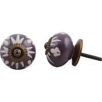 IndianShelf Handmade 20 Piece Ceramic Purple Etched Home Decor Dresser Knobs/Wardrobe Cabinet Pulls