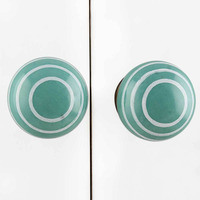 IndianShelf Handmade 20 Piece Ceramic Green Stripe Artistic Drawer Knobs/Cabinet Pulls