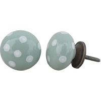IndianShelf Handmade 20 Piece Ceramic Green Polka Dot Decorative Room Drawer Knobs/Cabinet Door Pulls