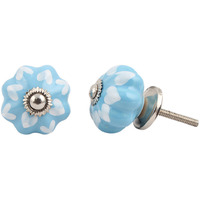 IndianShelf Handmade 20 Piece Ceramic Turquoise Two Leaf Decorative Room Drawer Knobs/Cabinet Door Pulls