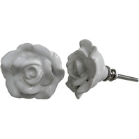 IndianShelf Handmade 20 Piece Ceramic White Rose Flower Shape Artistic Drawer Knobs/Cabinet Pulls