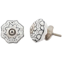 IndianShelf Handmade 20 Piece Ceramic Black Lotus Decorative Room Drawer Knobs/Cabinet Door Pulls