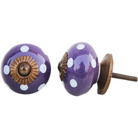 IndianShelf Handmade 20 Piece Ceramic Purple Dotted Round Decorative Room Drawer Knobs/Cabinet Door Pulls