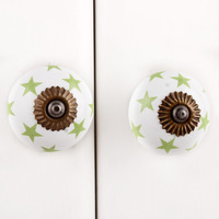 IndianShelf Handmade 3 Piece Ceramic Green Star Designer Drawer Door Knobs/Cabinet Pulls