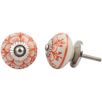 IndianShelf Handmade 3 Piece Ceramic Orange Zinnia Flower Artistic Dresser Knobs/Cabinet Door Pulls