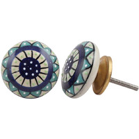 IndianShelf Handmade 3 Piece Ceramic Multicolor Dianthus Flower Flat Vintage Furniture Drawer Knobs/Wardrobe Door Pulls