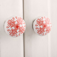 IndianShelf Handmade 3 Piece Ceramic Red Leaf Flat Designer Drawer Door Knobs/Cabinet Pulls