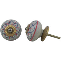 IndianShelf Handmade 3 Piece Ceramic Multicolor Camellias Flower Vintage Furniture Drawer Knobs/Wardrobe Door Pulls