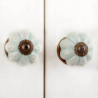 IndianShelf Handmade 3 Piece Ceramic Green Etched Designer Drawer Door Knobs/Cabinet Pulls