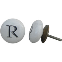 IndianShelf Handmade 3 Piece Ceramic White R Alphabet Designer Drawer Door Knobs/Cabinet Pulls