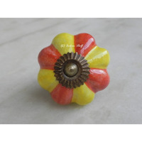 IndianShelf Handmade 3 Piece Ceramic Yellow Floral Designer Drawer Door Knobs/Cabinet Pulls
