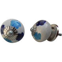 IndianShelf Handmade 3 Piece Ceramic Multicolor Night Flower Designer Drawer Door Knobs/Cabinet Pulls