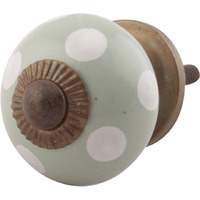 IndianShelf Handmade 5 Piece Ceramic Green Dotted Antique Look Drawer Room Knobs/Dresser Door Pulls