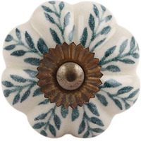 IndianShelf Handmade 5 Piece Ceramic Green Leaf Melon Antique Look Drawer Room Knobs/Dresser Door Pulls