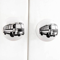 IndianShelf Handmade 5 Piece Ceramic White Bus Flat Vehicle Rust Free Drawer Kitchen Knobs/Cabinet Pulls