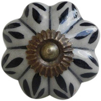 IndianShelf Handmade 5 Piece Ceramic Black Shamrock Antique Look Drawer Room Knobs/Dresser Door Pulls