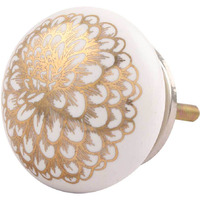IndianShelf Handmade 7 Piece Ceramic Golden Carnation Flower Flat Designer Drawer Door Knobs/Cabinet Pulls