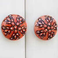 IndianShelf Handmade 7 Piece Ceramic Peach Tiny Flower Flat Designer Drawer Door Knobs/Cabinet Pulls