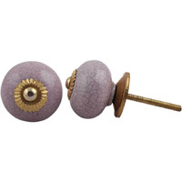 IndianShelf Handmade 7 Piece Ceramic Purple Crackle Crackle Vintage Furniture Drawer Knobs/Wardrobe Door Pulls