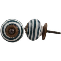 IndianShelf Handmade 7 Piece Ceramic Green Stripe Designer Drawer Door Knobs/Cabinet Pulls